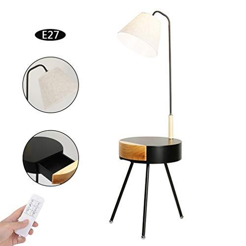 LXHK LED Stehlampe mit Dimmbar Fernbedienung, Stehleuchte Modern Tisch Leinen Lampenschirm Wohnzimmer Schlafzimmer Nachttischlampe, E27, 48 * 135 cm,Withremotecontrol