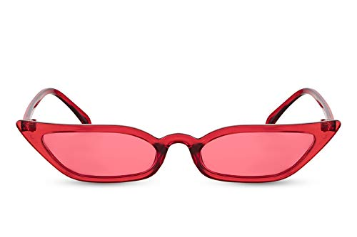 Cheapass Sonnenbrille Rot Cat-Eye Schmal UV-400 Designer-Brille Influencer Plastik Damen