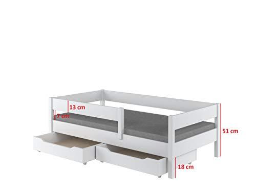 Toddler Miki Kinder Einzelbett mit Schubladen, 4Farben, viele verschiedenen Größen -, holz, weiß, 200×90 - 3