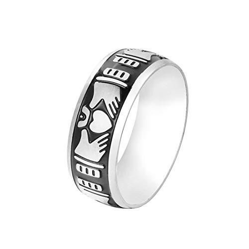 Lafeil Ringe Silber Irisch Ring Männer Wikinger Claddagh Silber Schwarz Gr. 67 (21.3) 8mm Breit 5G Silber Gothicring (Irische Claddagh-ring Für Männer)