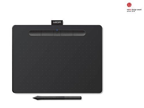 Wacom CTL-6100WLK-N Intuos Medium Kabelloses Grafiktablet (Bluetooth, inkl. 3 Software Downloads Corel Painter Essentials, Corel Aftershot und Clip Studio Paint Pro) Schwarz