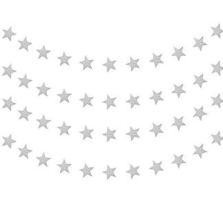 YXJD-Papier-Girlande-4-x-4m-Sternengirlande-Glitzergirlande-Hngendeko-Sternkette-fr-Hochzeit-Geburtstag-Party-Weihnachten-Verzierung-Deko-Silber
