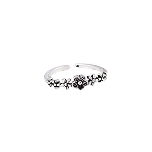 n Ring Silber Blumen Form Pflaumenblüte Retro Thai Silber Stil Einstellbar (Silber Blumen-ring)