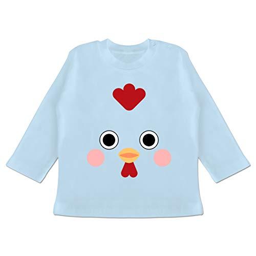Karneval und Fasching Baby - Hahn Kostüm - 6-12 Monate - Babyblau - BZ11 - Baby T-Shirt (Baby Hahn Kostüm)