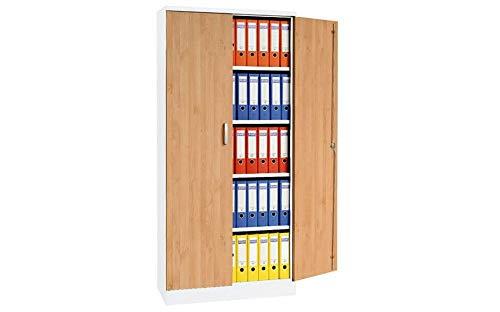 Schrank und Stuhl Aktenschrank Stahlschrank mit Holztüren | Höhe 195 cm | Varianten - KOMPLETT MONTIERT (Weiss Erle) - Komplett Aktenschränke Montiert