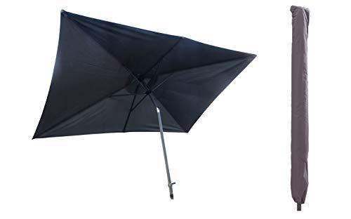 Pure Home & Garden Sonnenschirm inklusive Schutzhülle mit Stab, Sunrise Protect anthrazit, 300 x 200 cm, mit UV-Schutz 40 Plus,