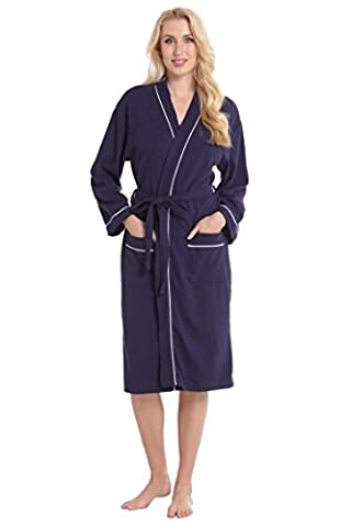 Aibrou Unisex Navy Blue Waffle Dressing Gown 100% Cotton Lightweight