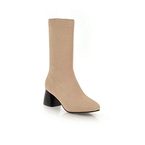 Lässige Schuhe Damenstiefel Modische Damenstiefel, dick mit quadratischem Absatz, 34-43 Yards Stiefel, grau-schwarz-beige (Farbe : B, größe : 37)