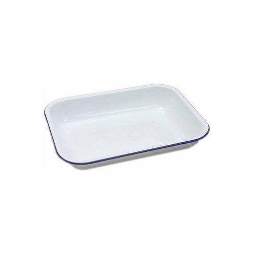 Plateau de cuisson 61031 blanc, en émail par Genware, 31 cm x 25 cm x 5 cm