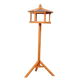 PawHut Deluxe Bird Stand Feeder Table Feeding Station Wooden Garden Wood Coop Parrot Stand 113cm High New 16