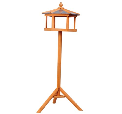 PawHut Deluxe Bird Stand Feeder Table Feeding Station Wooden Garden Wood Coop Parrot Stand 113cm High New 1