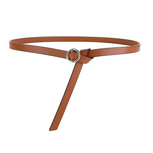 Yiph-Belt Gürtel Freizeit Frauen Runde Schnalle verknotet dünne Gürtel doppelseitige Leder Kleid dekorative weiche dünne Gürtel (Farbe : Braun) - Verknotet Schnalle
