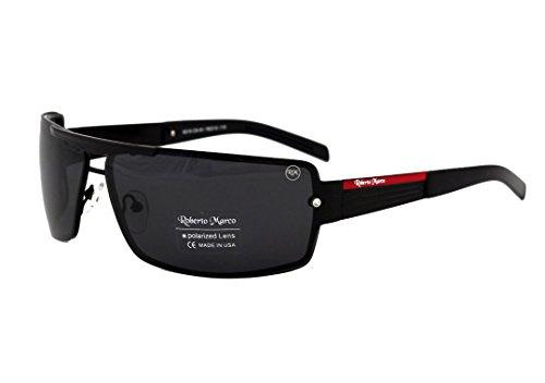 Roberto Marco Collection Polarisierte Sonnenbrille für Männer Frauen Damen Fahrer, Blendschutzgläser, Schwarzer Metallrahmen, Grau Polarizierte Fahrbrille