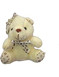 Cute Teddy Bear Key Chain By Raleigh Soft Artificial Toy Keyring Special Gift For Your Loved Ones (White)
