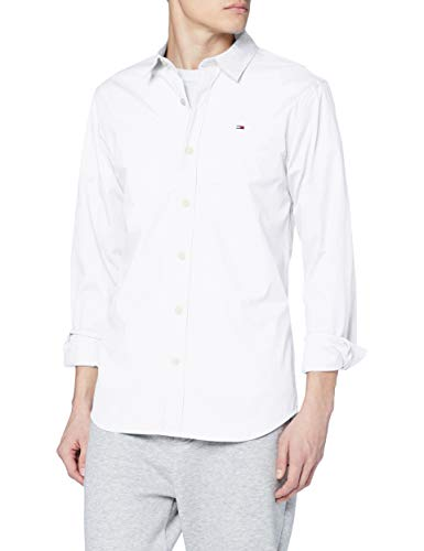 Tommy jeans uomo original stretch  camicia maniche lunghe slim fit bianco (classic white 100) small