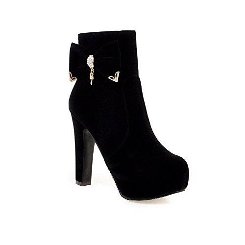 AgooLar Damen Niedrig-Spitze Eingelegt Reißverschluss Hoher Absatz Stiefel mit Anhänger, Schwarz, 35