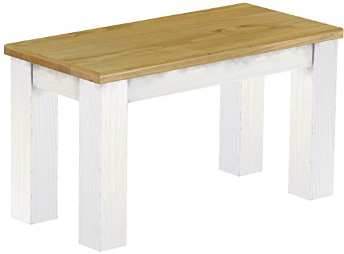 Brasilmöbel Sitzbank \'Rio Classico\' 80 cm, Pinie Massivholz, Farbton Brasil - Weiß