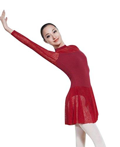 ZKOO Mädchen Ballettkleid Ballettanzug Ballett Trikot Kleid mit Chiffon Rock Rot M (Damen-tanz-trikot Pink)