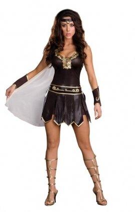 Frauen 3Stück braun & Nude Gladiator Viking warrior Superhero Fancy Dress Hen Night Halloween Party Größe passt (Halloween Viking Womens Kostüme)