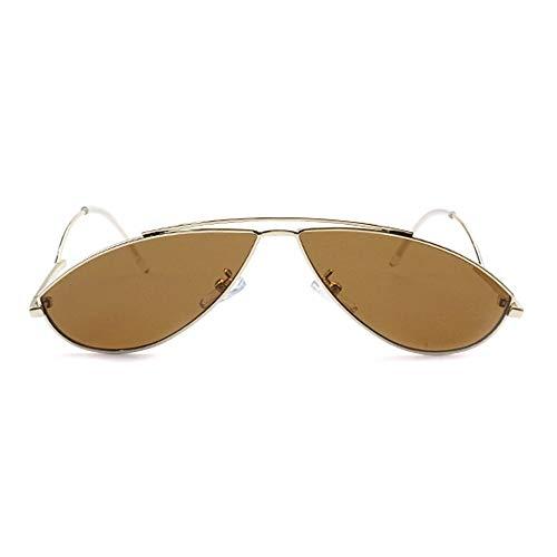 WULE-Sunglasses Unisex UV400 Schutz Unisex Goldrahmen Persönlichkeit Stil Moderne kleine Brille Europa und die Vereinigten Staaten Trend Street Shot Sonnenbrille (Farbe : Brown)