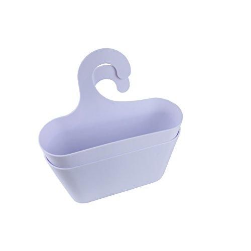 2er-Set stabiler Aufbewahrungskorb Universal-Hängekorb bestehend aus 2 Duschkörben mit Haken zum Hängen für Bad, Dusche, Küche, Keller, WC, Garage etc. Duschkorb in Weiß (2 Regal Kunststoff-regal)