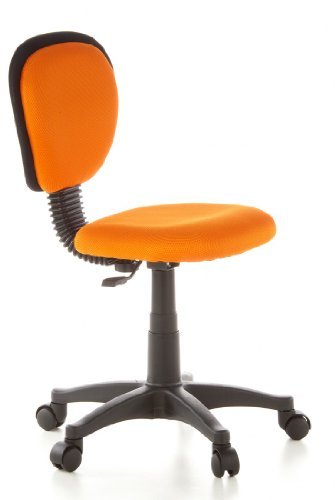 Affordable hjh OFFICE, 670140, Childrens Desk Chair, swivel chair, computer chair kids room, KIDDY TOP, Orange, mesh fabric, for children, ergonomic back, height adjustable, office task study chair,  home stool, armless, with soft-bottom rollers on Line