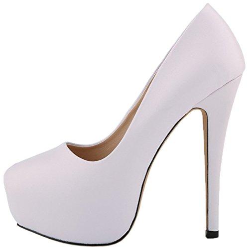HooH Femmes Stiletto Plateforme Talon haut Robe Escarpins Mariage Chaussures a enfiler Blanc-1