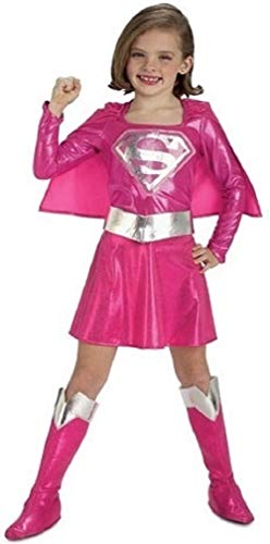 Kind Supergirl Rosa Kostüm - Mädchen Rosa Dc Comics Supergirl Superman Super Hero Büchertag Kostüm Kleid Outfit - Rosa, Rosa, 2-3 Years