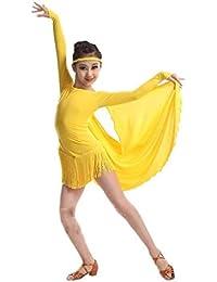12b7ab29debe YONGMEI Jupe Cape à Franges Filles Jupe Danse Latine Vêtements ...