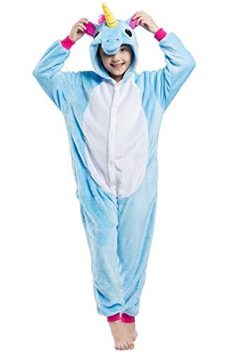 Jumpsuit Onesie Tier Karton Fasching Karneval Halloween Kostüm Kinder Mädchen Junge Kigurumi Sleepsuit Overall Pyjama Unisex Lounge Cosplay Schlafanzug, Blau Einhorn