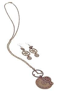 Bristol Novelty BA3226 - Collar con reloj y pendientes para mujer, color bronce
