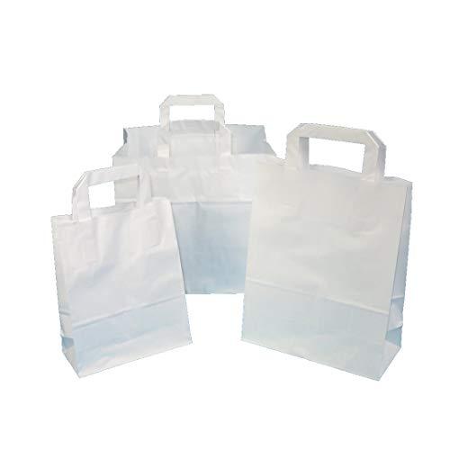 250 Papiertragetaschen Papiertüten Einkaufstüten Tragetaschen aus Papier weiß 70-80g/m² mit Innen Flachhenkel aus Papier Verschiedene Größen zur Auswahl (18+8x22cm 70g)