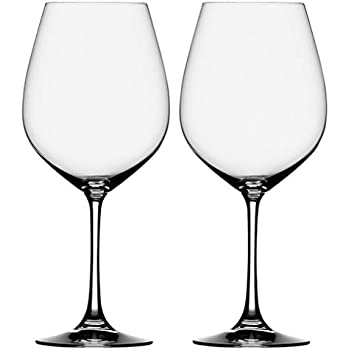 Cloudsell Red Wine Glass, Crystal Cut Rim, Clear, 465 ml, Set of 2
