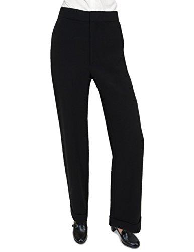 Cuffed Wide Leg Ponte Strickkleid Hose, 8, Schwarz (Wide Ponte Pants Leg)