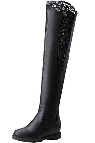 BIGTREE Knie Stiefel Damen Erhöhte Herbst Winter Elegant Bestickte Spitzen Schwarz Casual Flach Lang Stiefel 42 EU (Over-knie Sexy Stiefel)