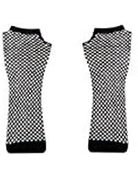 Long Lurex Glitter Fishnet Gloves - Black & Silver