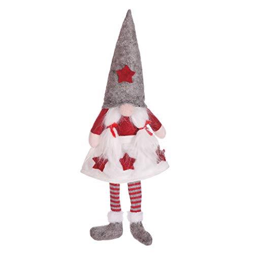 LILIGOD Weihnachten Puppe Anhänger Dekoration Hängende Fensterdekoration Santa Claus-Puppe Weihnachten Gesichtslose Puppe Santa Long Leg Plüsch Ornament Dekor Kid Toy Geschenk