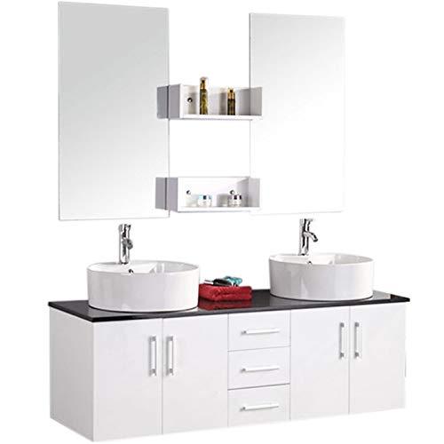 Grafica ma.ro srl mobile arredo bagno modello lion 150 cm arredobagno sospeso rubinetteria lavabo bianco neve con piano nero, rubinetteria e due lavabo inclusi