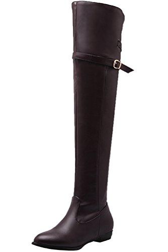 tiefel Damen Herbst Winter Flach Schnalle Bequem Knie Hohe Stiefel von Bigtree Braun 40 EU (Super Günstige Damen Stiefel)