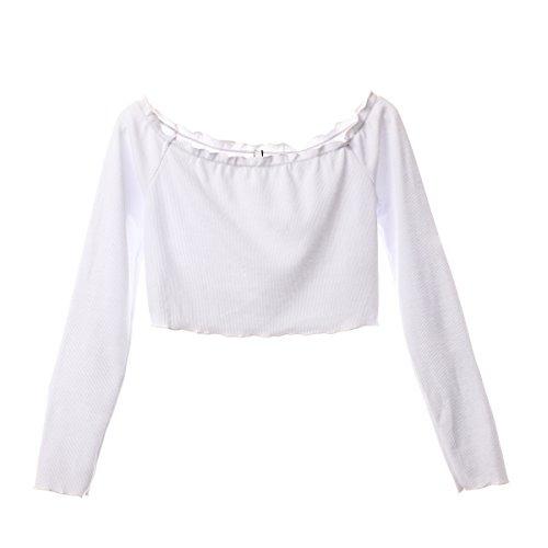 Binwwe Nouvelles Chemises de Récolte Épaule Tops À Manches Longues T-Shirt Femmes Vêtements de Mode Mince T-Shirt Blanc