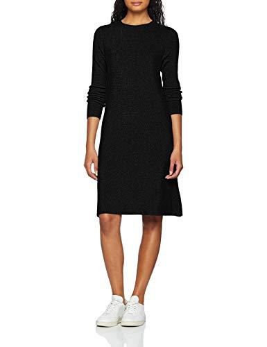VERO MODA Damen Kleid VMNANCY LS Knit Dress NOOS, Schwarz (Black), 36 (Herstellergröße: S)