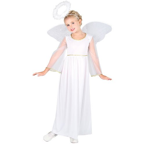 Heavenly Angel with Wings and Halo - Kids Costume 3 - 4 years (Heavenly Angel Dress Kostüm)