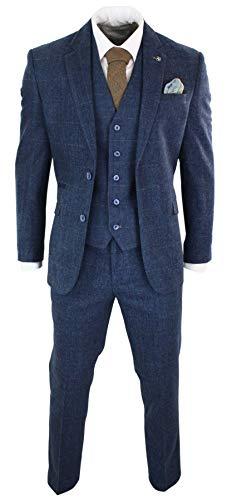 House Of Cavani Herrenanzug 3 Teilig Blau Marineblau 1920`s Peaky Blinders Vintage Retro (Anzug 1920 Männer)