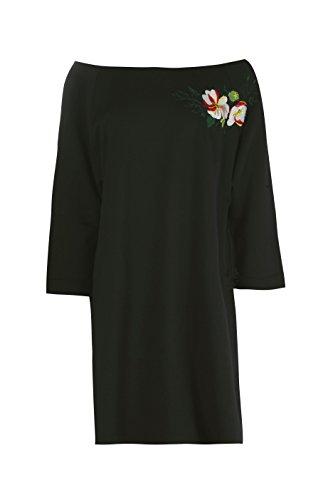 Damen Schwarz Charlotte Besticktes Sweatshirt-kleid Mit Einer Freien Schulter Schwarz