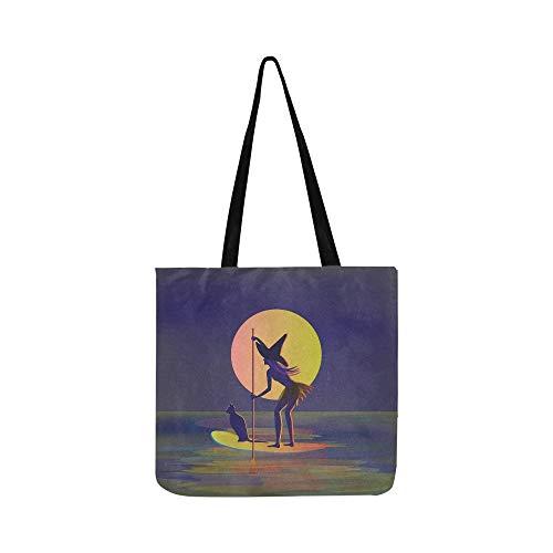 Halloween Mond Hexe Hut Schwarze Katze Leinwand Tote Handtasche Umhängetasche Crossbody Taschen Geldbörsen Für Männer Und Frauen Einkaufstasche
