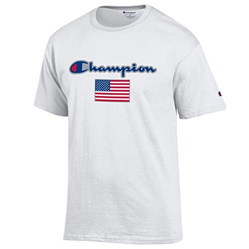 Champion Men's USA/Military Collection-Air Force, Army, Marines-Cotton T-Shirt (X-Large, USA/White Script Over USA Flag) - Air Force White T-shirt
