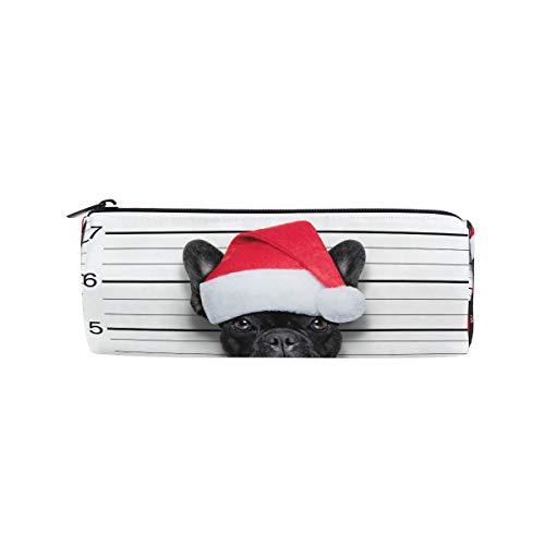 Freche Santa (Bonipe Frech Bulldogge Weihnachtsmütze Bad Santa Federmäppchen Tasche für Schule Schreibwaren Stiftebox Reißverschluss Kosmetik Make-up Tasche)