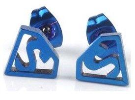 Piercing Boutique - Orecchini a lobo da donna, in acciaio INOX, a forma di logo Superman, confezione da 1 paio, colore: blu