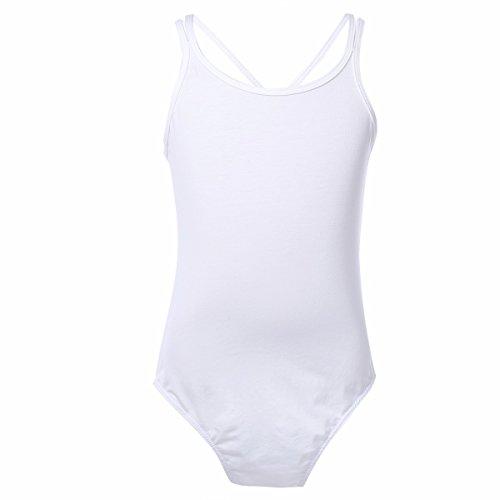 FEESHOW Kinder Mädchen Balltkleid Baumwolle Ballett Trikot Leotard Kleid Gymnastikanzug Trikotanzug Ballettanzug Gr.98-164 Weiß 98-104/3-4 (Kleid Dance Weißes Kostüme)