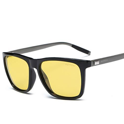 AORON Sonnenbrillen Für Herren Und Damen, Bunte Modesonnenbrillen, Nachtsichtbrillen, Aluminium-Magnesium-Materialien, Buntes Polarisiertes Licht, UV-Schutz,Blackyellow